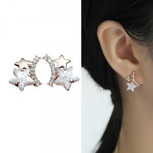 CIShop Sparkling Star Alloy Zircon Diamond Stud Earrings (Gold Tone)