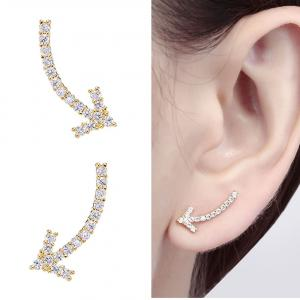 CIShop Arrow Sparkling Diamond Stud Earrings 925 Sterling silver Earrings(Hypoallergenic,GoldTone)