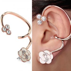 CIShop Camellia Alloy Diamondl Stud Earring Ear cuff Earring Sweet Punk Ear Wrap Hypoallergic