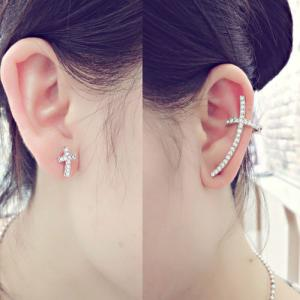 CIShop Diamond Cross Earcuff Earrings stud Punk Style Ear Wrap Ear Cuff