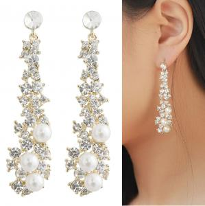 Waterfall Earrings-UltraSparkling Long Pearl earrings with Diamonds-Super Beautiful